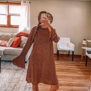 NWT Billabong striped long flare sleeve dress